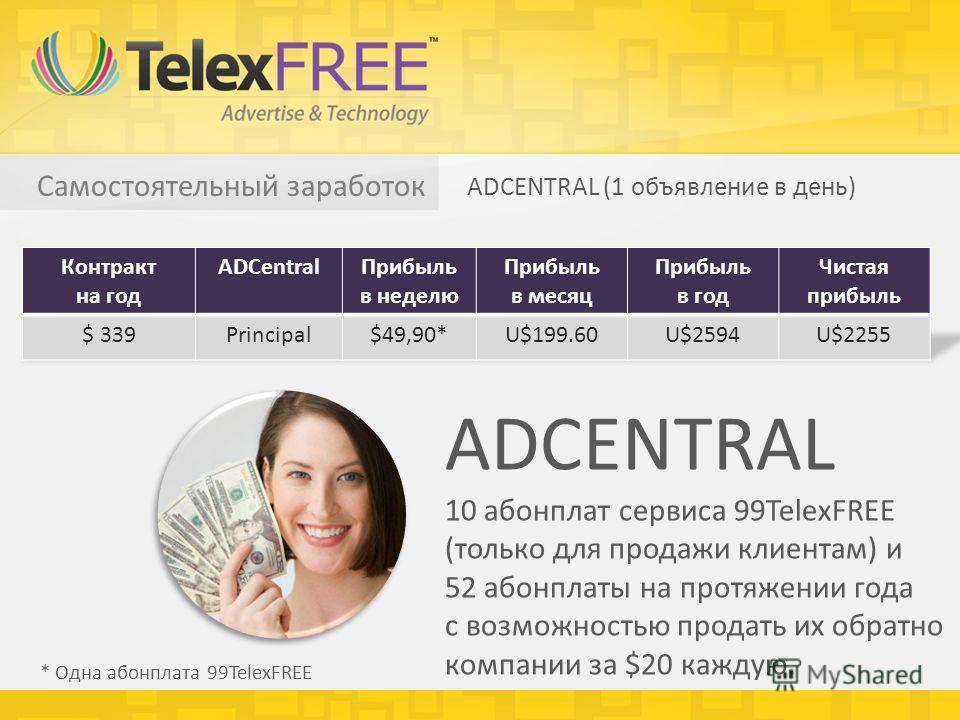 Самостоятельный заработок ADCENTRAL (1 объявление в день) * Одна абонплата 99TelexFREE ADCENTRAL 10 абонплат сервиса 99TelexFREE (только для продажи клиентам) и 52 абонплаты на протяжении года с возможностью продать их обратно компании за $20 каждую.