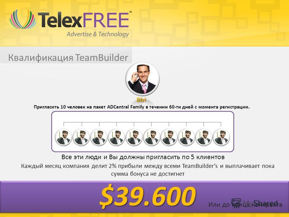 Квалификация TeamBuilder Пригласить 10 человек на пакет ADCentral Family в течении 60-ти дней с момента регистрации. Все эти люди и Вы должны пригласить по 5 клиентов Каждый месяц компания делит 2% прибыли между всеми TeamBuilders и выплачивает пока