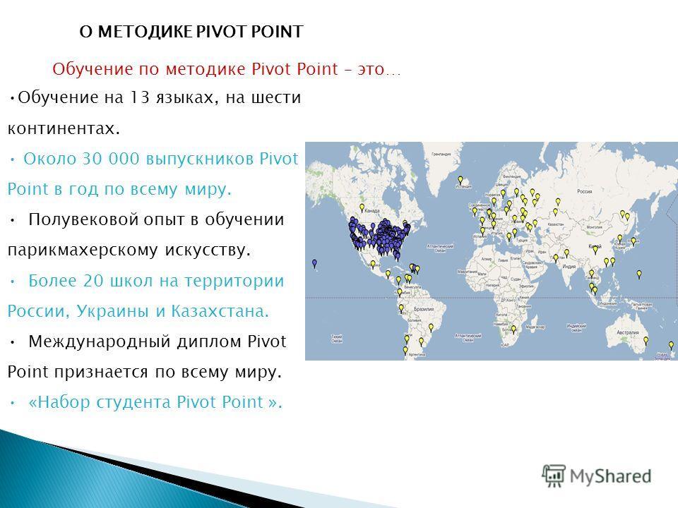 О МЕТОДИКЕ PIVOT POINT Обучение по методике Pivot Point – это… Обучение на 13 языках, на шести континентах. Около 30 000 выпускников Pivot Point в год по всему миру. Полувековой опыт в обучении парикмахерскому искусству. Более 20 школ на территории Р