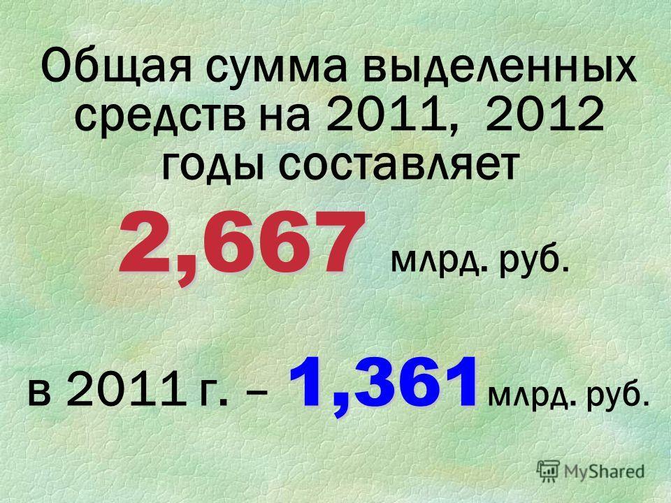 Общая сумма выделенных средств на 2011, 2012 годы составляет 2,667 2,667 млрд. руб. 1,361 в 2011 г. – 1,361 млрд. руб.