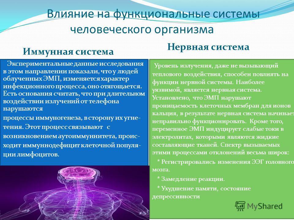 Влияние на функциональные системы человеческого организма Иммунная система Нервная система Экспериментальные данные исследования в этом направлении показали, что у людей облученных ЭМП, изменяется характер инфекционного процесса, оно отягощается. Ест