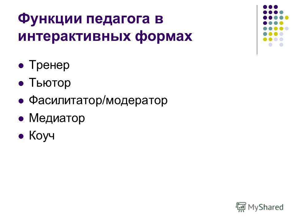 Функции педагога в интерактивных формах Тренер Тьютор Фасилитатор/модератор Медиатор Коуч