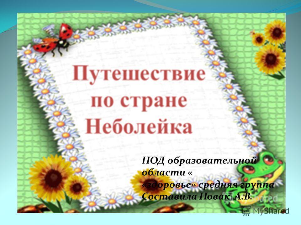 НОД образовательной области « «здоровье» средняя группа Составила Новак А.В.