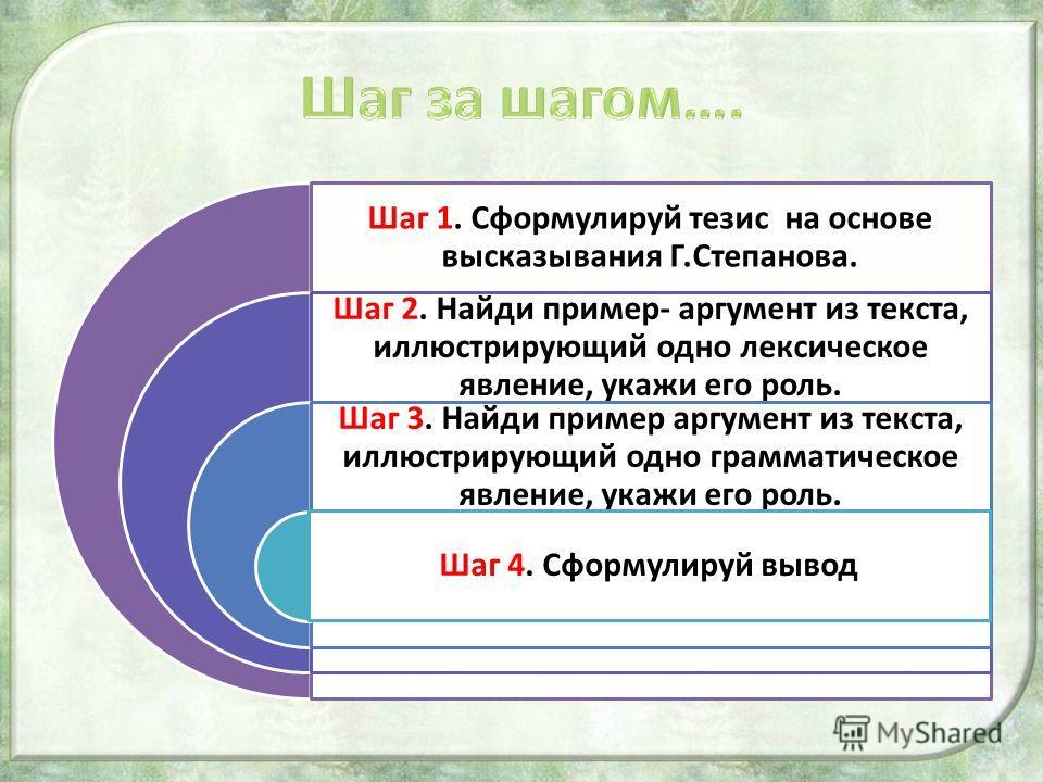 Шаг 1. Сформулируй тезис на основе высказывания Г.Степанова. Шаг 2. Найди пример- аргумент из текста, иллюстрирующий одно лексическое явление, укажи его роль. Шаг 3. Найди пример аргумент из текста, иллюстрирующий одно грамматическое явление, укажи е