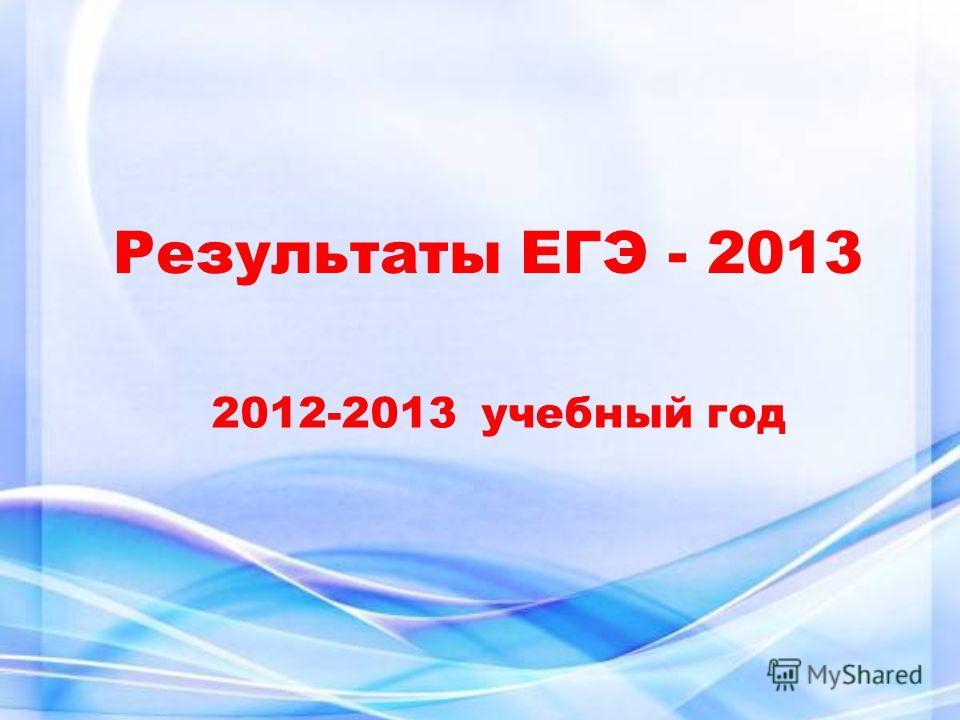 Результаты ЕГЭ - 2013 2012-2013 учебный год