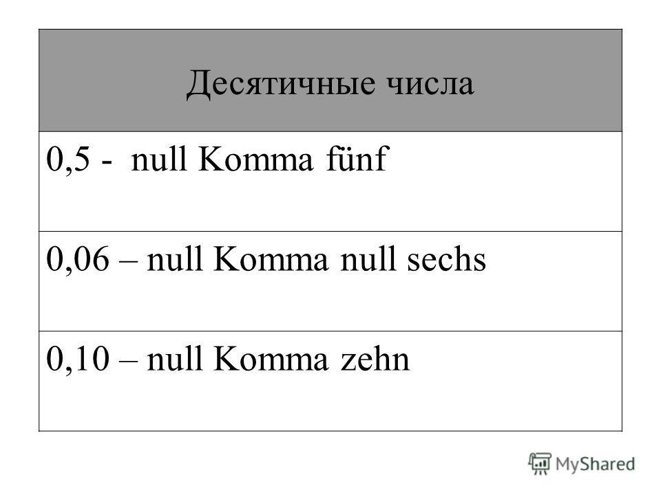 Десятичные числа 0,5 - null Komma fünf 0,06 – null Komma null sechs 0,10 – null Komma zehn