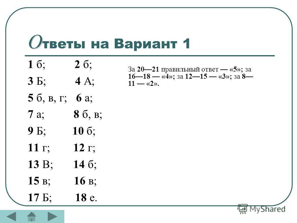 О О тветы на Вариант 1 1 б; 2 б; 3 Б; 4 А; 5 б, в, г; 6 а; 7 а; 8 б, в; 9 Б; 10 б; 11 г; 12 г; 13 В; 14 б; 15 в; 16 в; 17 Б; 18 е. За 2021 правильный ответ «5»; за 1618 «4»; за 1215 «3»; за 8 11 «2».