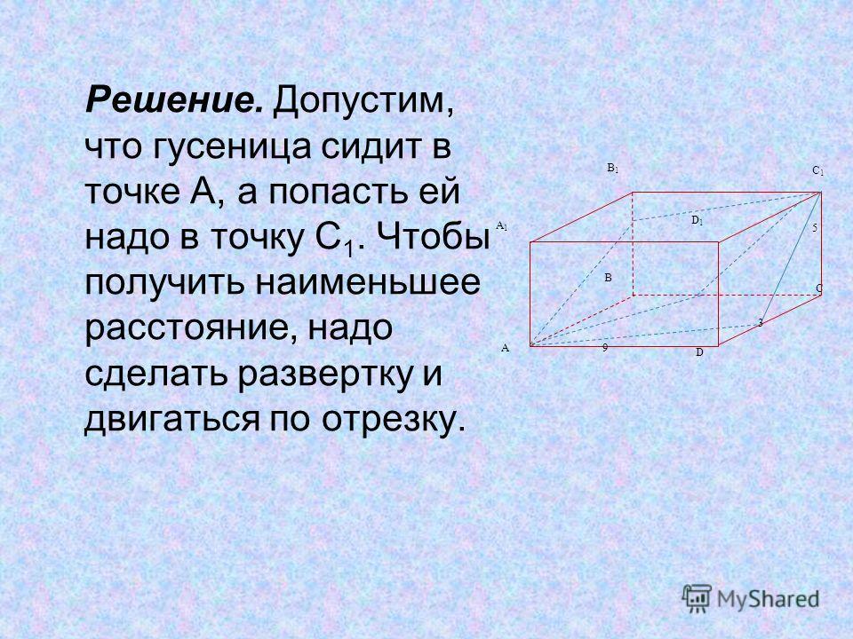 Решение. Допустим, что гусеница сидит в точке А, а попасть ей надо в точку С 1. Чтобы получить наименьшее расстояние, надо сделать развертку и двигаться по отрезку. A A1A1 B B1B1 C1C1 C D1D1 D 9 5 3