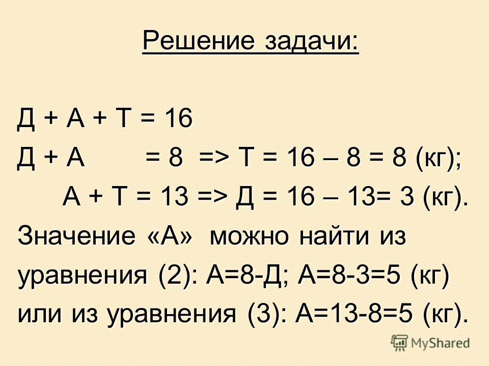 Анализ условия задачи: (1) Д + А + Т = 16 (1) Д + А + Т = 16 (2) Д + А = 8 (2) Д + А = 8 (3) А + Т = 13 (3) А + Т = 13