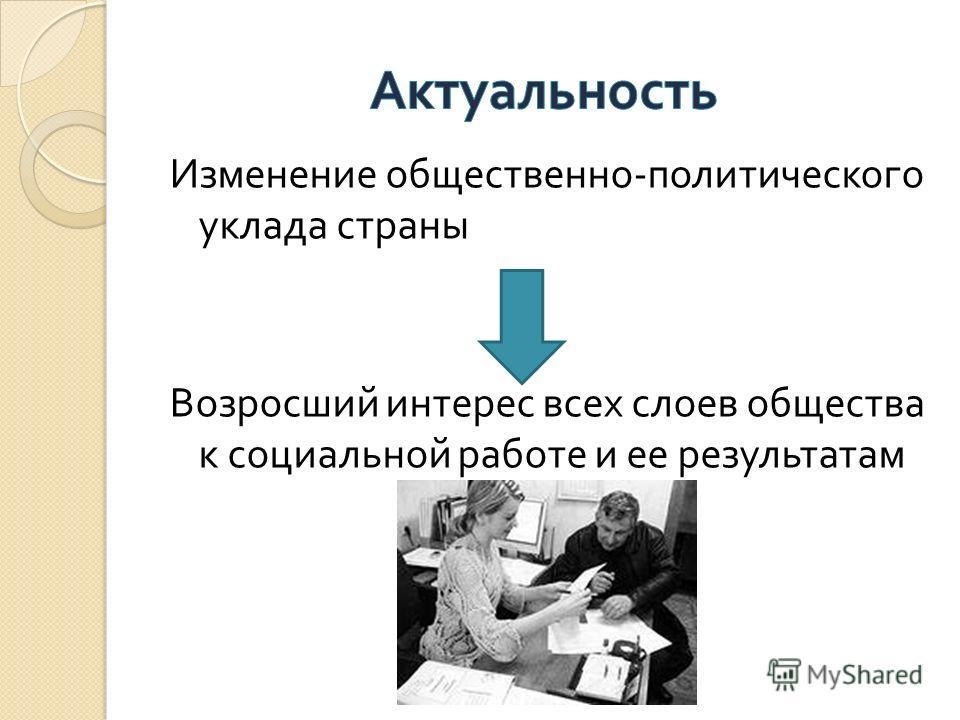 Изменение общественно - политического уклада страны Возросший интерес всех слоев общества к социальной работе и ее результатам