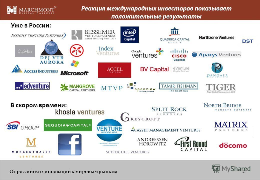 От российских инноваций к мировым рынкам Венчурная индустрия России и тенденции инновационной экономики В настоящее время промышленность России на подъеме и, как ожидается, будет расти на 30% ежегодно в течение ближайших лет; Более 3000 инновационных