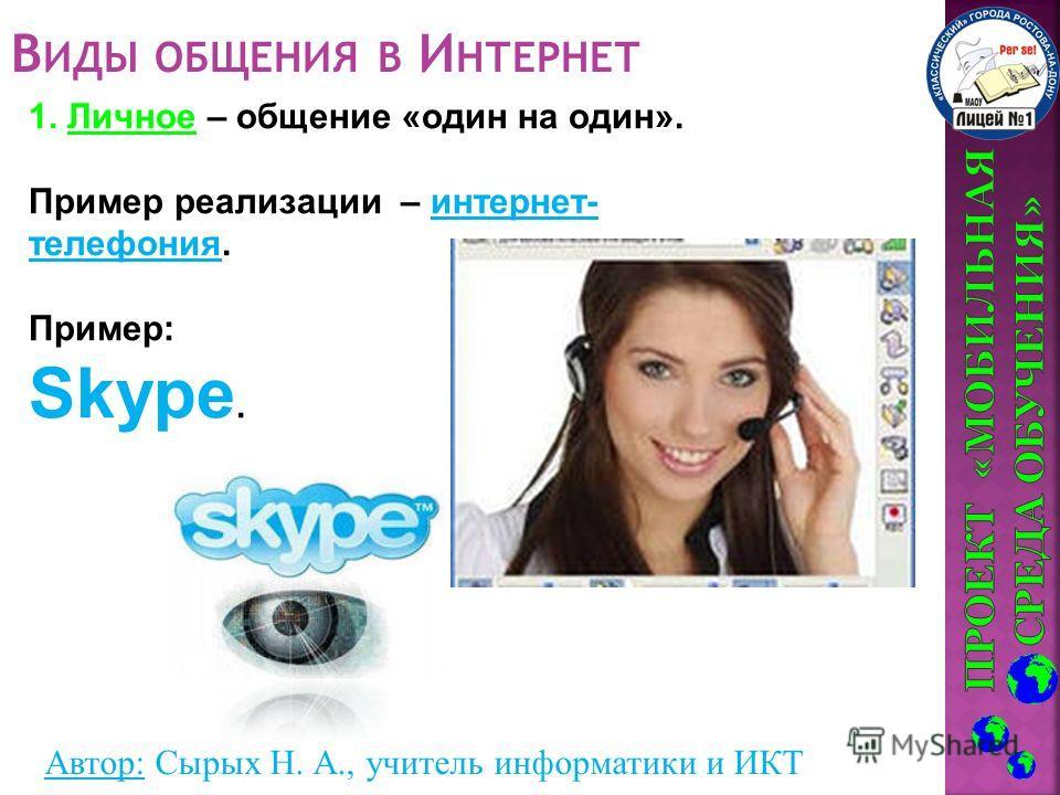 Автор: Сырых Н. А., учитель информатики и ИКТ В ИДЫ ОБЩЕНИЯ В И НТЕРНЕТ 1. Личное – общение «один на один». Пример реализации – интернет- телефония. Пример: Skype.