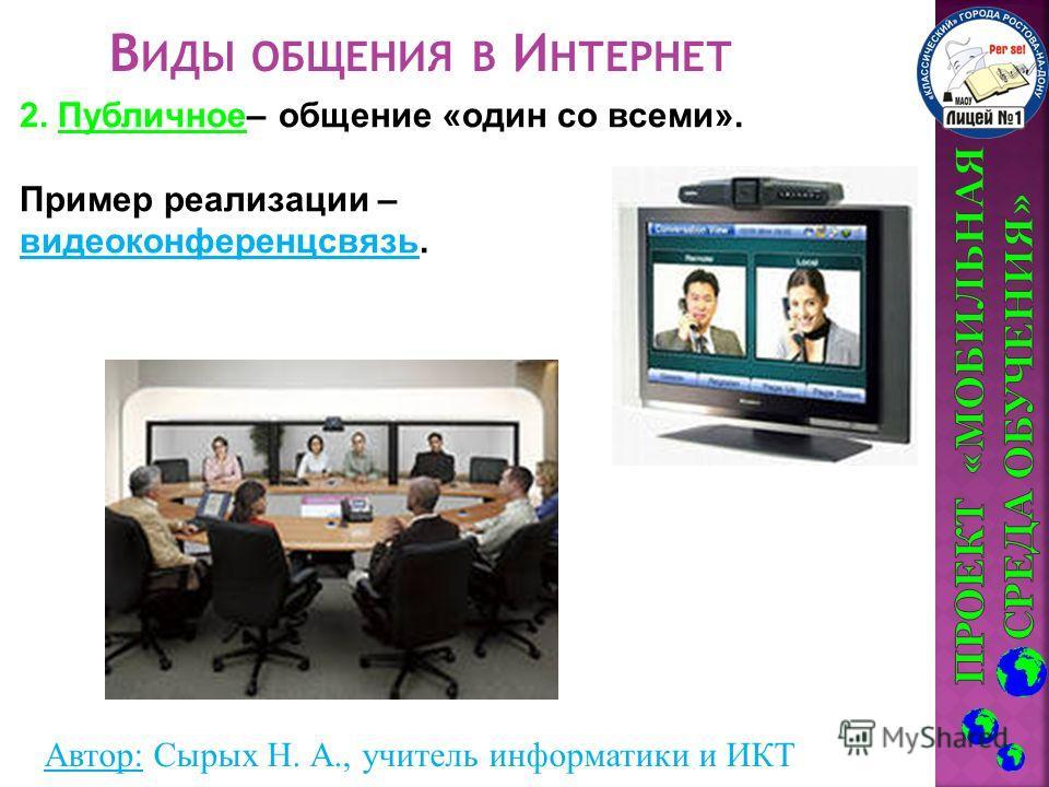 Автор: Сырых Н. А., учитель информатики и ИКТ В ИДЫ ОБЩЕНИЯ В И НТЕРНЕТ 2. Публичное– общение «один со всеми». Пример реализации – видеоконференцсвязь.