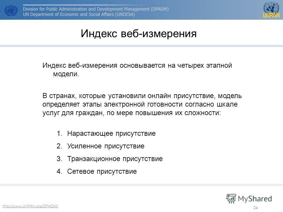 http://www.UNPAN.org/DPADM/ 24 Индекс веб-измерения Индекс веб-измерения основывается на четырех этапной модели. В странах, которые установили онлайн присутствие, модель определяет этапы электронной готовности согласно шкале услуг для граждан, по мер