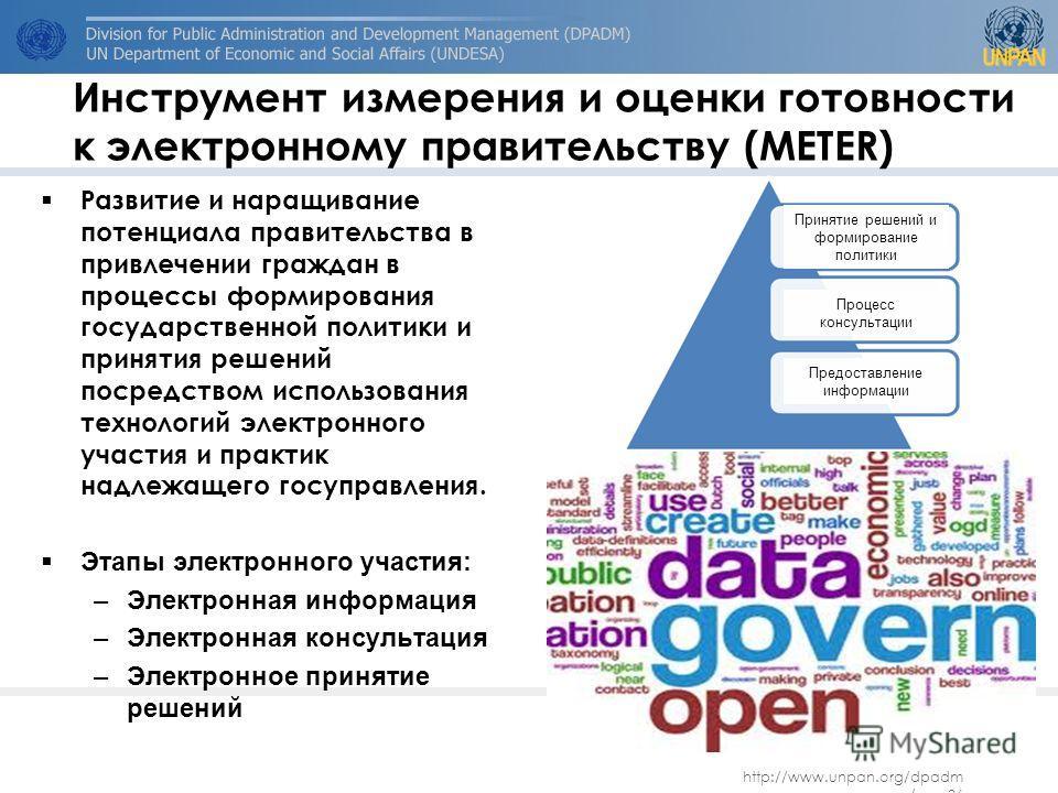 http://www.unpan.org/dpadm /.. 36 Инструмент измерения и оценки готовности к электронному правительству (METER) Развитие и наращивание потенциала правительства в привлечении граждан в процессы формирования государственной политики и принятия решений