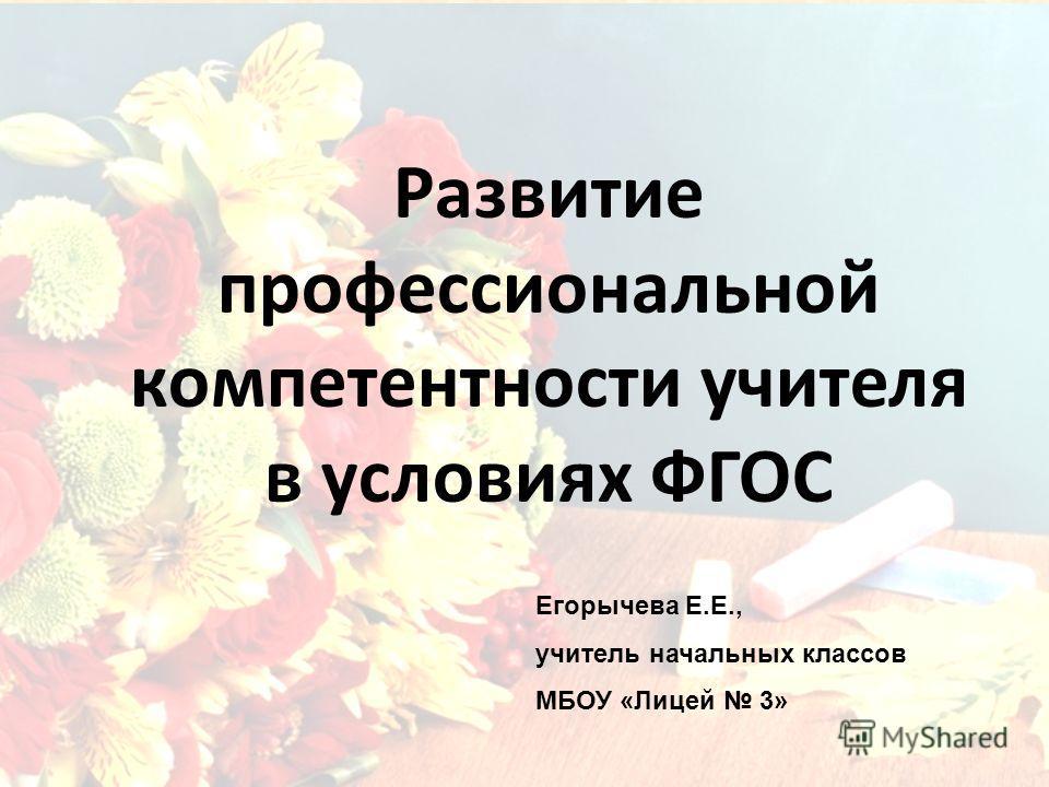 Развитие профессиональной компетентности учителя в условиях ФГОС Егорычева Е.Е., учитель начальных классов МБОУ «Лицей 3»