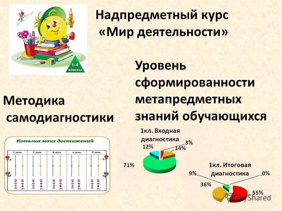 Надпредметный курс «Мир деятельности» Методика самодиагностики Уровень сформированности метапредметных знаний обучающихся