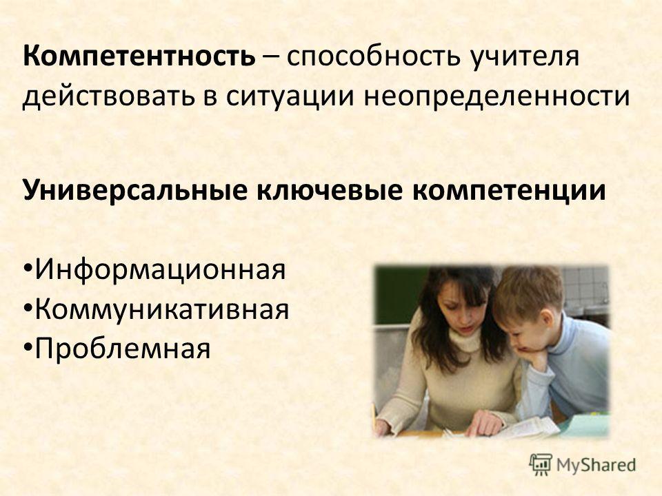 Компетентность – способность учителя действовать в ситуации неопределенности Универсальные ключевые компетенции Информационная Коммуникативная Проблемная