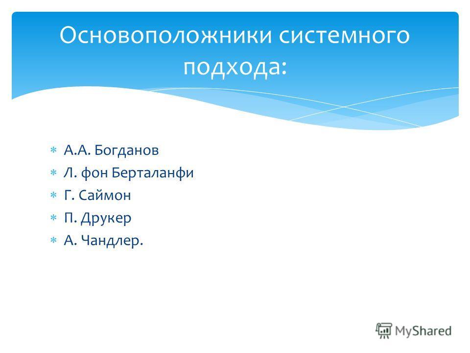 А.А. Богданов Л. фон Берталанфи Г. Саймон П. Друкер А. Чандлер. Основоположники системного подхода: