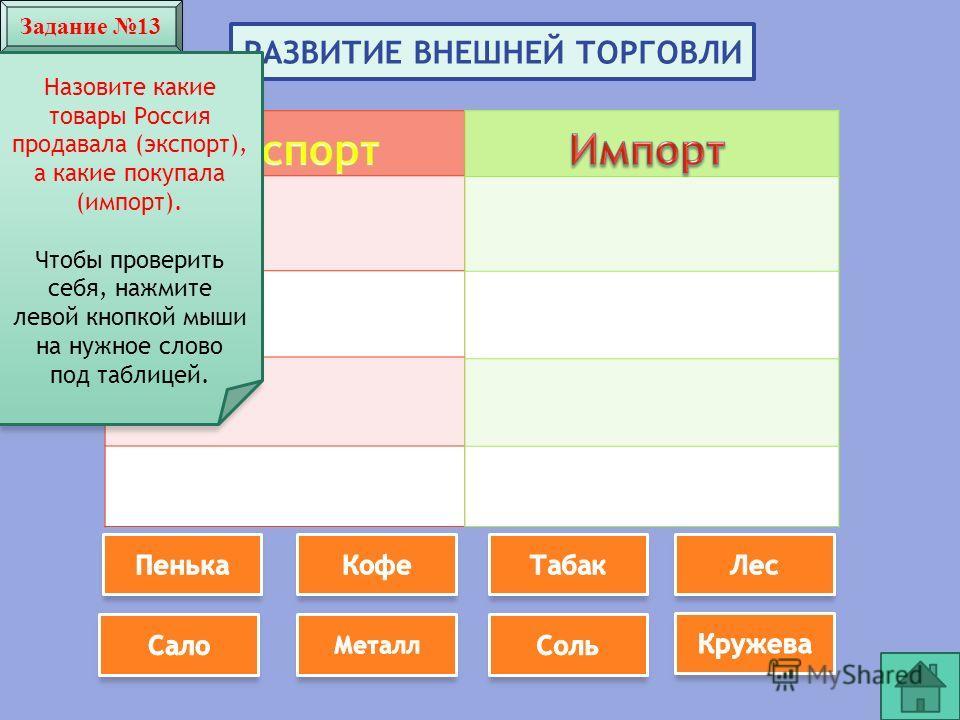 Задание 13 РАЗВИТИЕ ВНЕШНЕЙ ТОРГОВЛИ Назовите какие товары Россия продавала (экспорт), а какие покупала (импорт). Чтобы проверить себя, нажмите левой кнопкой мыши на нужное слово под таблицей.