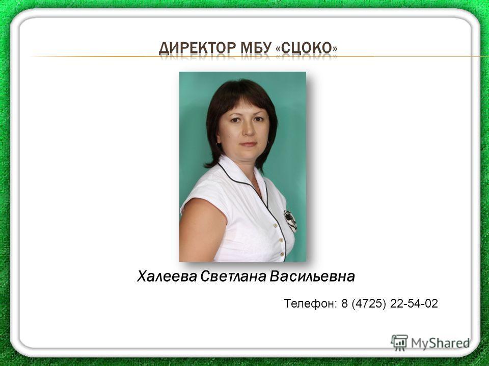 Халеева Светлана Васильевна Телефон: 8 (4725) 22-54-02