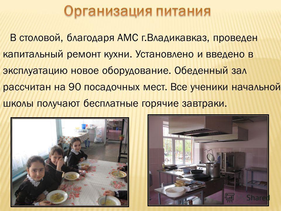 В столовой, благодаря АМС г.Владикавказ, проведен капитальный ремонт кухни. Установлено и введено в эксплуатацию новое оборудование. Обеденный зал рассчитан на 90 посадочных мест. Все ученики начальной школы получают бесплатные горячие завтраки.