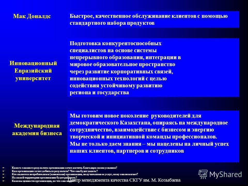 Центр менеджмента качества СКГУ им. М. Козыбаева Быстрое, качественное обслуживание клиентов с помощью стандартного набора продуктов Мы готовим новое поколение руководителей для демократического Казахстана, опираясь на международное сотрудничество, в