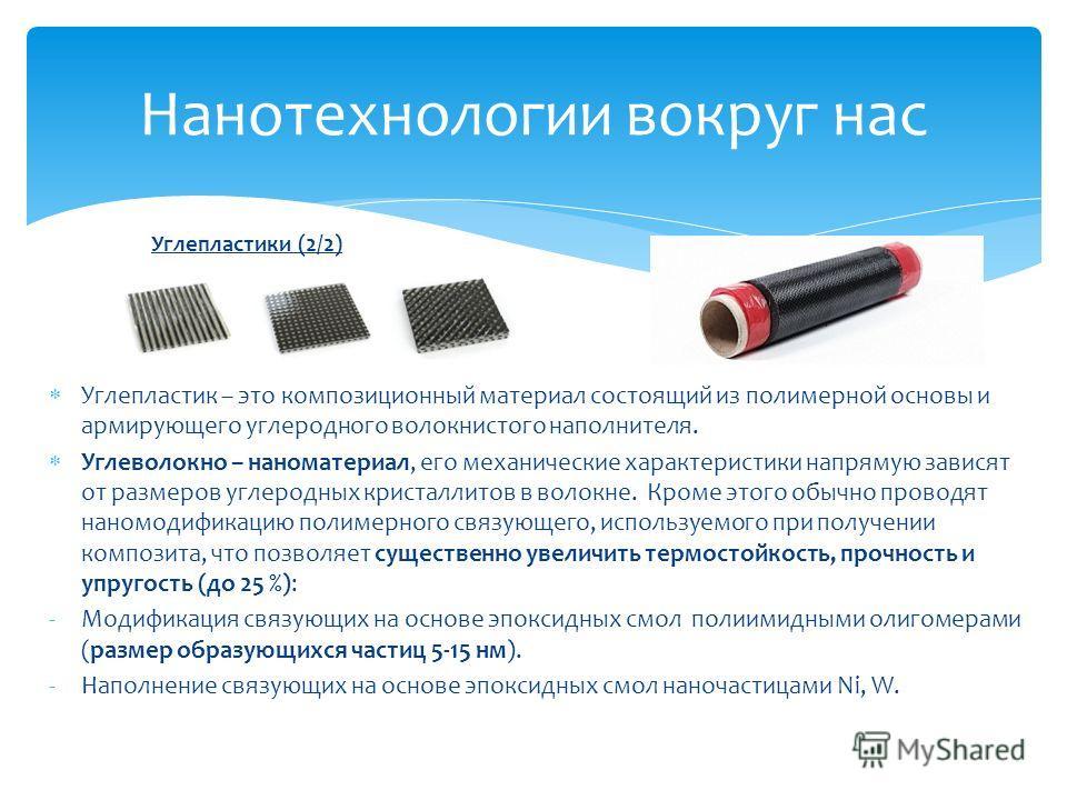 Нанотехнологии вокруг нас Углепластики (2/2) Углепластик – это композиционный материал состоящий из полимерной основы и армирующего углеродного волокнистого наполнителя. Углеволокно – наноматериал, его механические характеристики напрямую зависят от