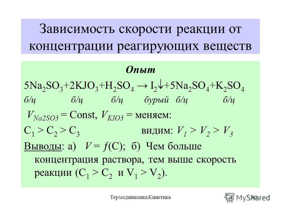 Термодинамика Кинетика40 Зависимость скорости реакции от концентрации реагирующих веществ Опыт 5Na 2 SO 3 +2KJO 3 +H 2 SO 4 I 2 +5Na 2 SO 4 +K 2 SO 4 б/ц б/ц б/ц бурый б/ц б/ц V Na2SO3 = Const, V KIO3 = меняем: С 1 > С 2 > С 3 видим: V 1 > V 2 > V 3