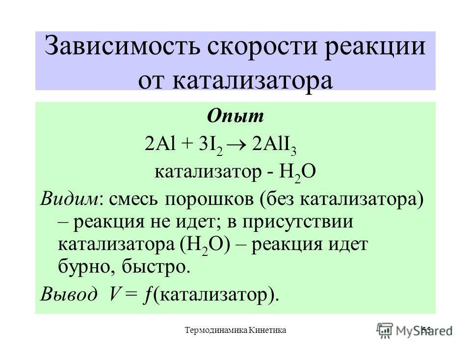 Термодинамика Кинетика55 Зависимость скорости реакции от катализатора Опыт 2Al + 3I 2 2AlI 3 катализатор - Н 2 О Видим: смесь порошков (без катализатора) – реакция не идет; в присутствии катализатора (Н 2 О) – реакция идет бурно, быстро. Вывод V = (к