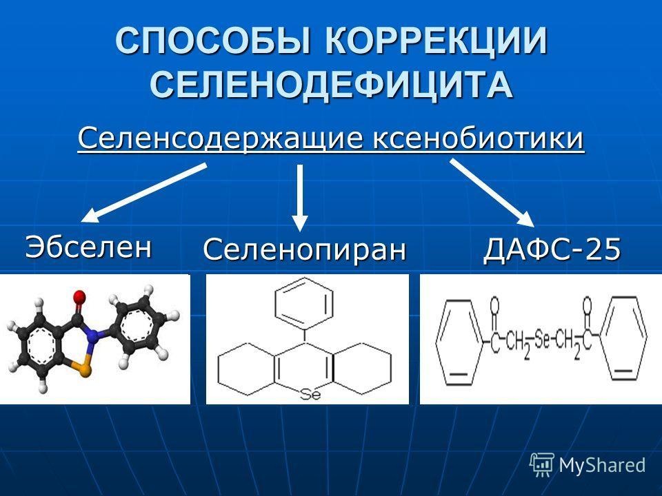 СПОСОБЫ КОРРЕКЦИИ СЕЛЕНОДЕФИЦИТА Селенсодержащие ксенобиотики Селенопиран Эбселен ДАФС-25