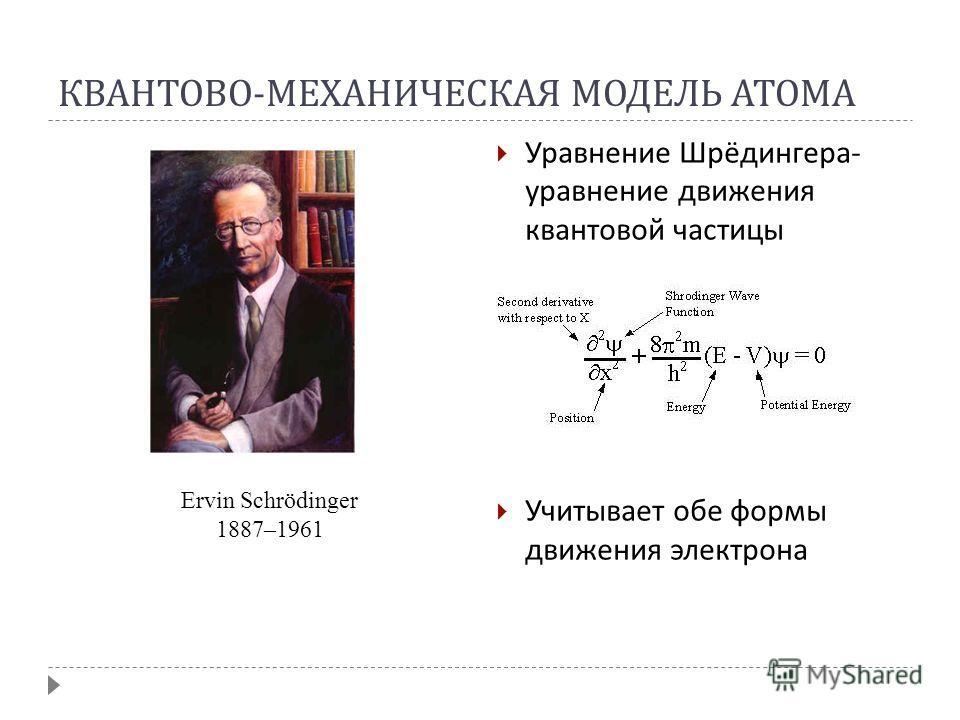 КВАНТОВО - МЕХАНИЧЕСКАЯ МОДЕЛЬ АТОМА Уравнение Шрёдингера - уравнение движения квантовой частицы Учитывает обе формы движения электрона Ervin Schrödinger 1887–1961