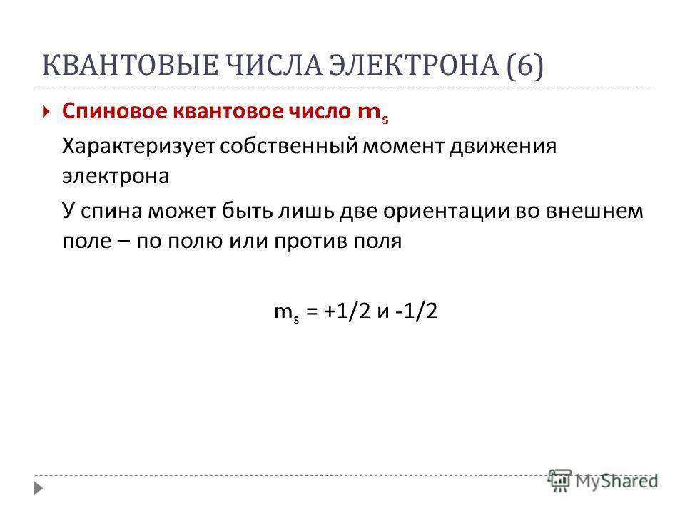 КВАНТОВЫЕ ЧИСЛА ЭЛЕКТРОНА (6) Спиновое квантовое число m s Характеризует собственный момент движения электрона У спина может быть лишь две ориентации во внешнем поле – по полю или против поля m s = +1/2 и -1/2