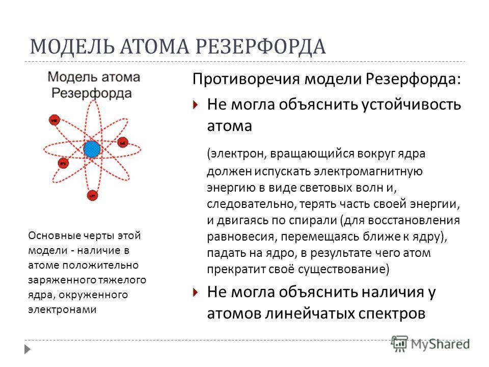 МОДЕЛЬ АТОМА РЕЗЕРФОРДА Противоречия модели Резерфорда : Не могла объяснить устойчивость атома ( электрон, вращающийся вокруг ядра должен испускать электромагнитную энергию в виде световых волн и, следовательно, терять часть своей энергии, и двигаясь