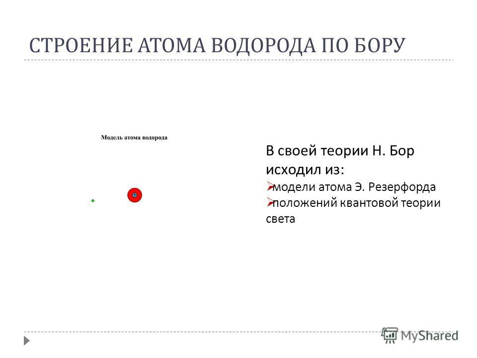 СТРОЕНИЕ АТОМА ВОДОРОДА ПО БОРУ В своей теории Н. Бор исходил из: модели атома Э. Резерфорда положений квантовой теории света