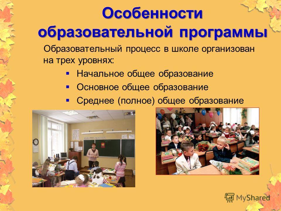 Особенности образовательной программы Образовательный процесс в школе организован на трех уровнях: Начальное общее образование Основное общее образование Среднее (полное) общее образование
