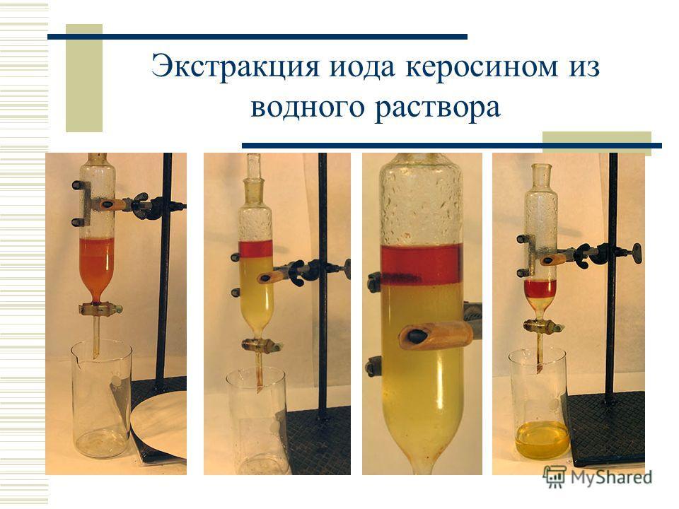 Экстракция иода керосином из водного раствора