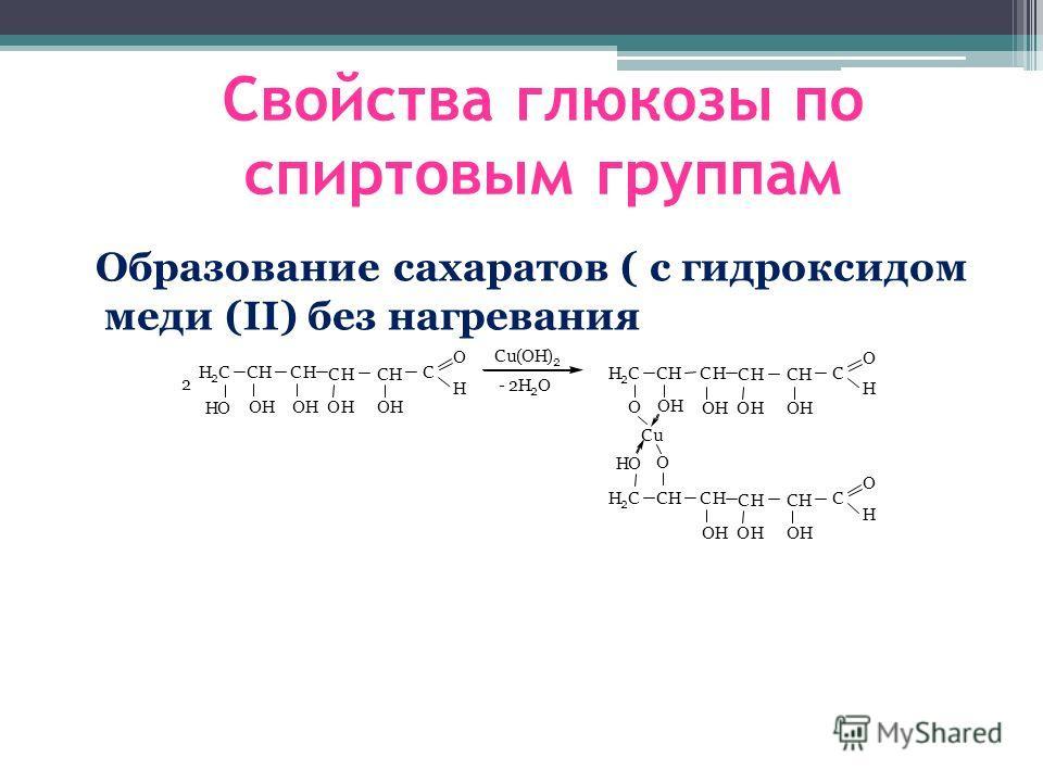 Образование сахаратов ( с гидроксидом меди (II) без нагревания Cu(OH) 2 CH H 2 CCH CH CH C O H OHOHOHOH HO CH H 2 C CH CH CH C O H OHOHOH HO CH H 2 C CH CH CH C O H OH OHOH OH Cu O O 2 - 2H 2 O Свойства глюкозы по спиртовым группам