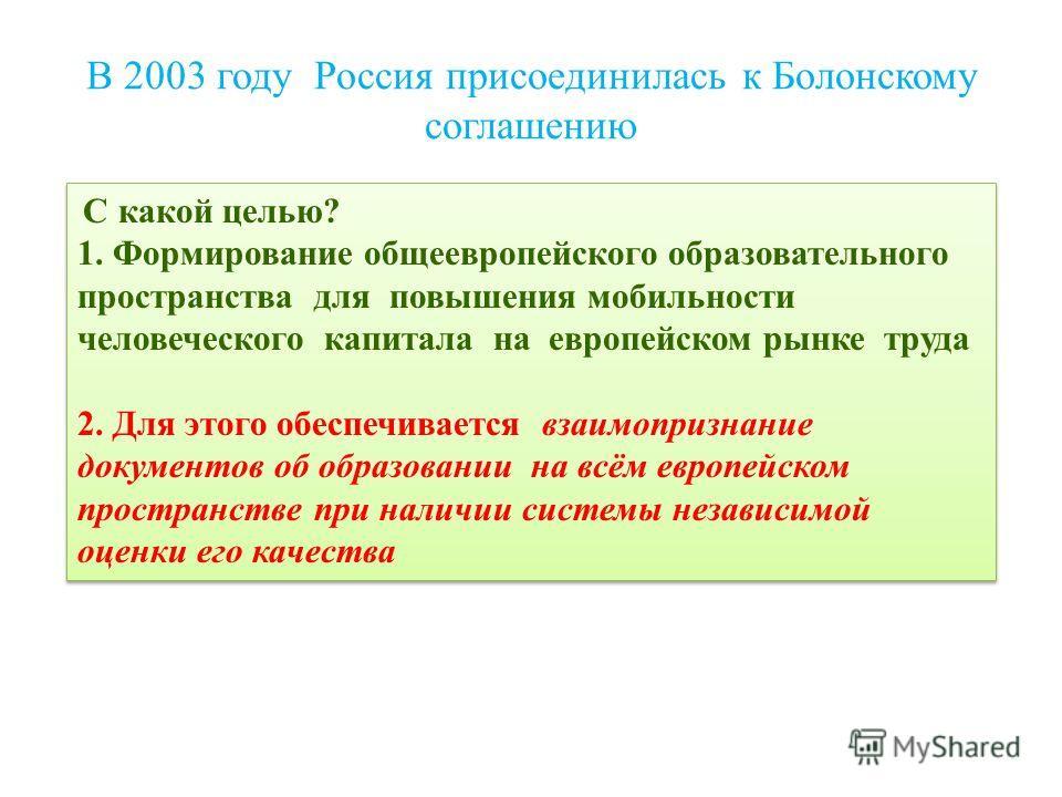 В 2003 году Россия присоединилась к Болонскому соглашению С какой целью? 1. Формирование общеевропейского образовательного пространства для повышения мобильности человеческого капитала на европейском рынке труда 2. Для этого обеспечивается взаимоприз
