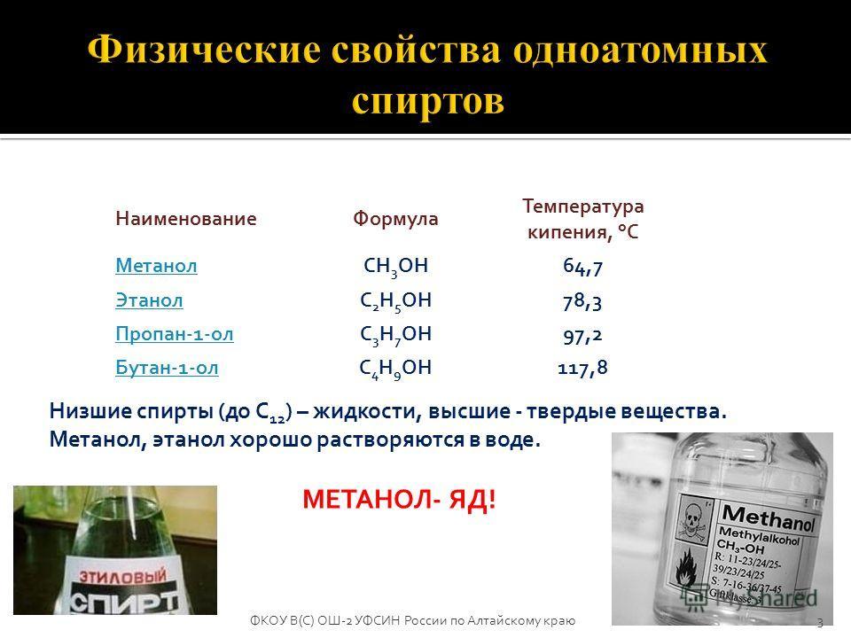 НаименованиеФормула Температура кипения, °С МетанолCH 3 OH64,7 ЭтанолC 2 H 5 OH78,3 Пропан-1-олC 3 H 7 OH97,2 Бутан-1-олC 4 H 9 OH117,8 Низшие спирты (до С 12 ) – жидкости, высшие - твердые вещества. Метанол, этанол хорошо растворяются в воде. МЕТАНО