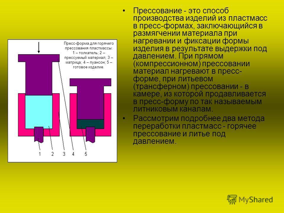 Прессование - это способ производства изделий из пластмасс в пресс-формах, заключающийся в размягчении материала при нагревании и фиксации формы изделия в результате выдержки под давлением. При прямом (компрессионном) прессовании материал нагревают в