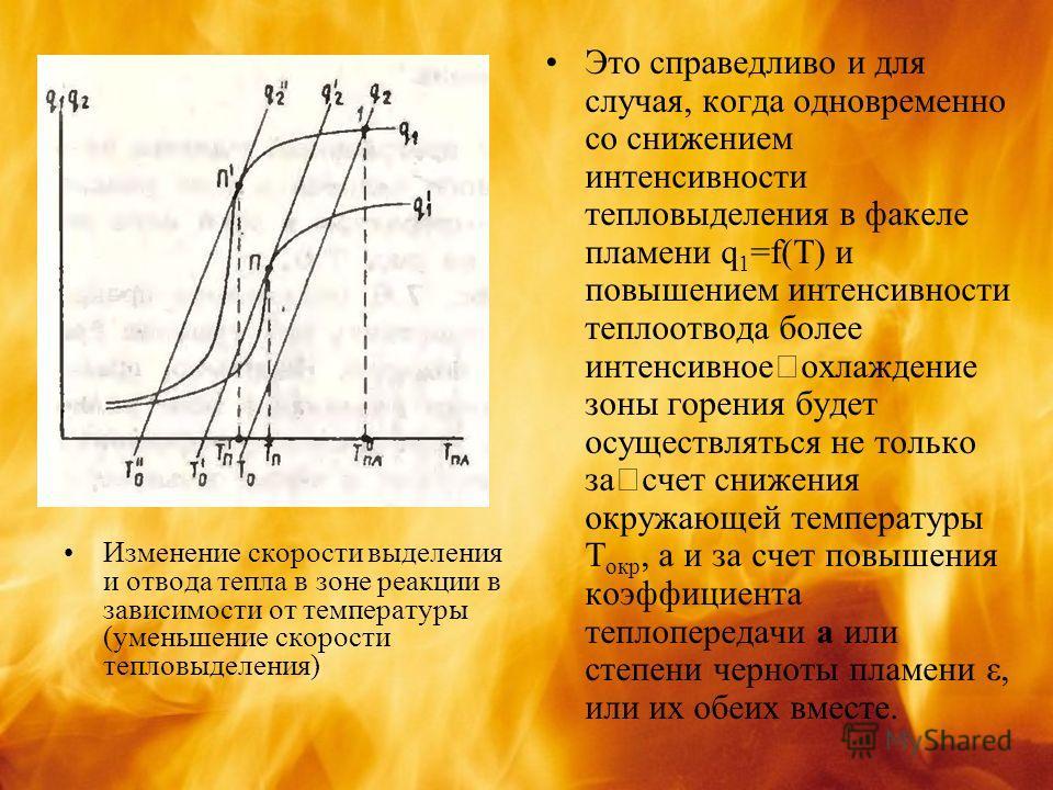 Изменение скорости выделения и отвода тепла в зоне реакции в зависимости от температуры (уменьшение скорости тепловыделения) Это справедливо и для случая, когда одновременно со снижением интенсивности тепловыделения в факеле пламени q 1 =f(T) и повыш