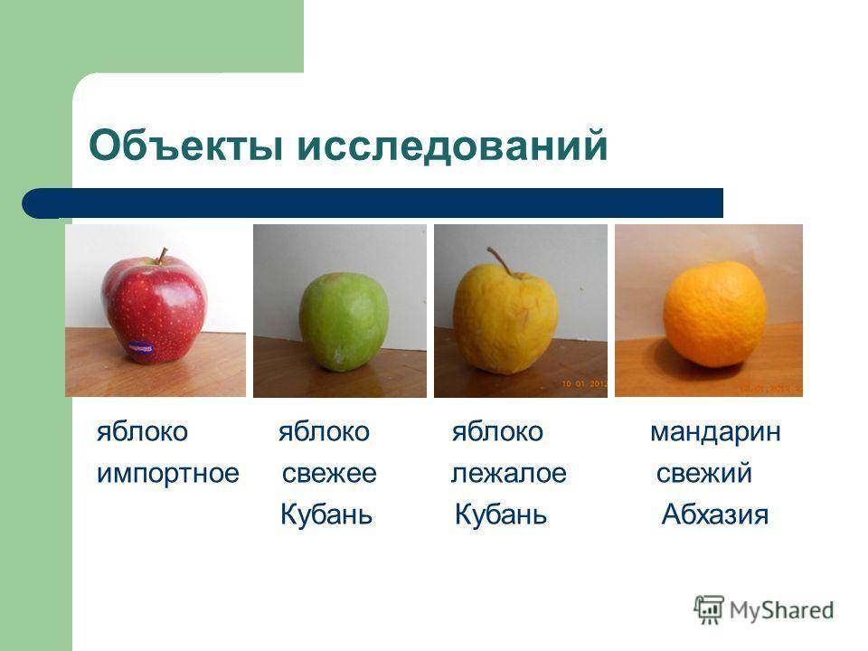 Объекты исследований яблоко яблоко яблоко мандарин импортное свежее лежалое свежий Кубань Кубань Абхазия