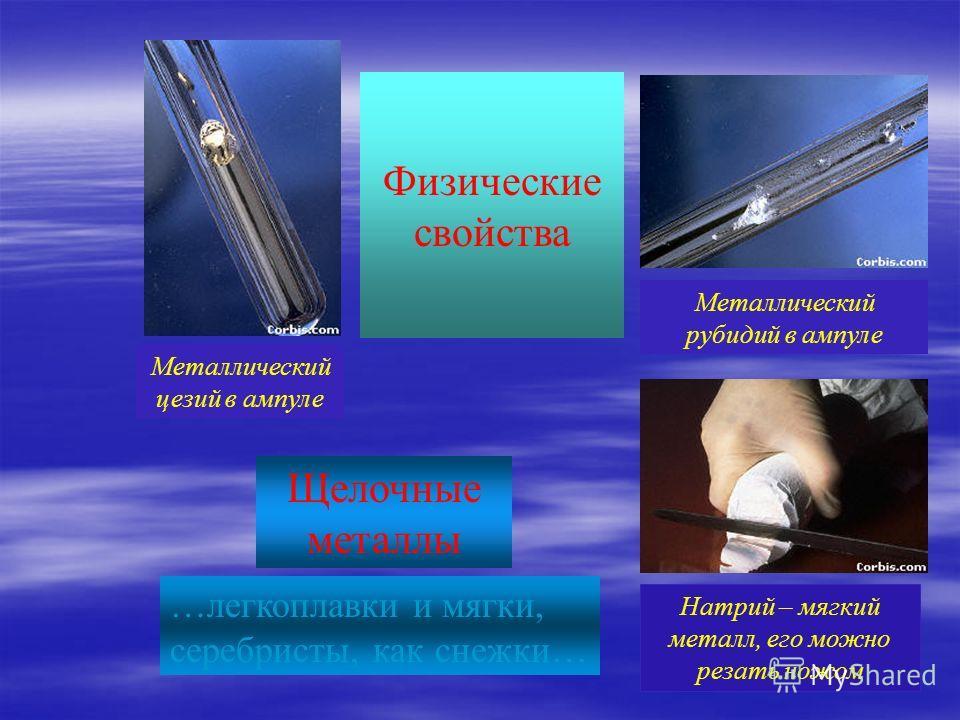 В РЯДУ ЩЕЛОЧНЫХ МЕТАЛЛОВ Радиус атома увеличивается Увеличиваются восстановительные свойства (способность отдавать электроны) Уменьшается прочность химической связи металл – металл Уменьшается температура плавления, температура кипения Na K Li Fr RbC