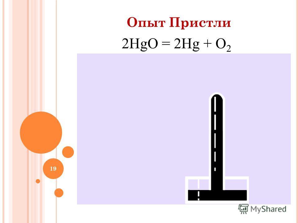 19 Опыт Пристли 2HgO = 2Hg + O 2