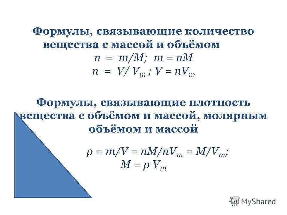 Формулы, связывающие количество вещества с массой и объёмом n = m/M; m = nM n = V/ V m ; V = nV m Формулы, связывающие плотность вещества с объёмом и массой, молярным объёмом и массой ρ = m/V = nM/nV m = M/V m ; M = ρ V m