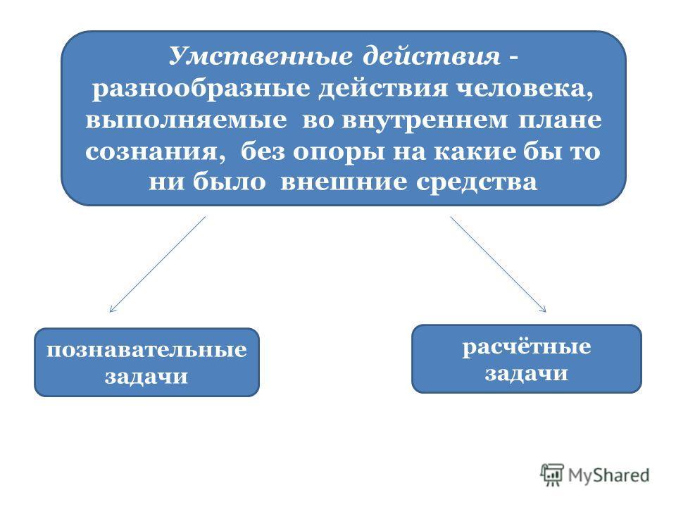 Умственные действия - разнообразные действия человека, выполняемые во внутреннем плане сознания, без опоры на какие бы то ни было внешние средства познавательные задачи расчётные задачи
