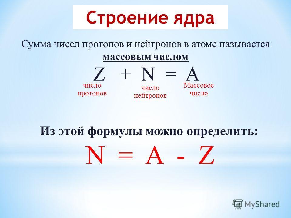 Сумма чисел протонов и нейтронов в атоме называется массовым числом Z + N = A число протонов число нейтронов Массовое число Из этой формулы можно определить: N = A - Z Строение ядра