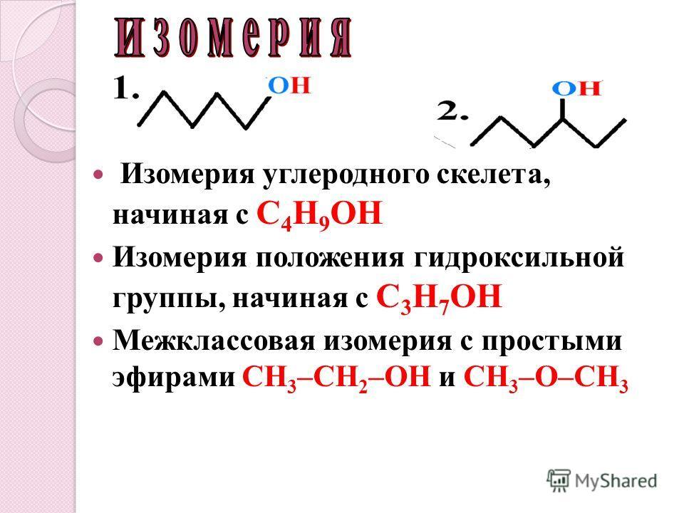 Изомерия углеродного скелета, начиная с C 4 H 9 OH Изомерия положения гидроксильной группы, начиная с С 3 Н 7 ОН Межклассовая изомерия с простыми эфирами СН 3 –СН 2 –ОН и СН 3 –О–СН 3