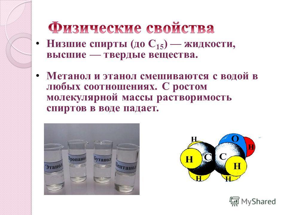 Низшие спирты (до C 15 ) жидкости, высшие твердые вещества. Метанол и этанол смешиваются с водой в любых соотношениях. С ростом молекулярной массы растворимость спиртов в воде падает.